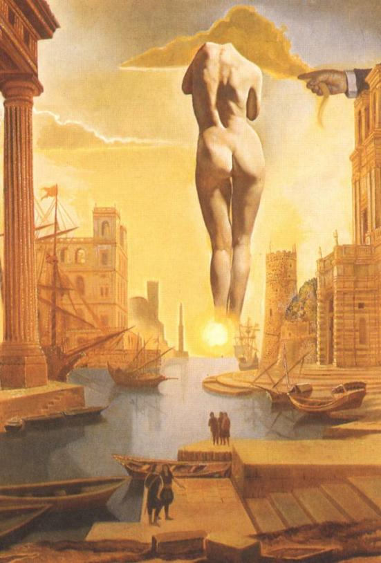 Salvador Dali - DalH s Hand Drawing Back the Golden Fleece in the Form of a Cloud to Show Gala the Dawn Completely Nude Very Very Far Away Behind the Sun (stereoscopic work right component) 1977